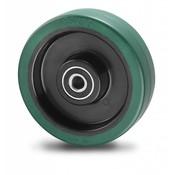 Hjul, Ø 160mm, vulkaniseret gummi elastisk dæk, 350KG