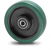 Hjul, Ø 125mm, vulkaniseret gummi elastisk dæk, 200KG