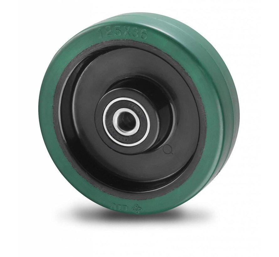 roulettes industrielles roue de caoutchouc vulcanisé élastique, roulements à billes de précision, Roue-Ø 125mm, 200KG
