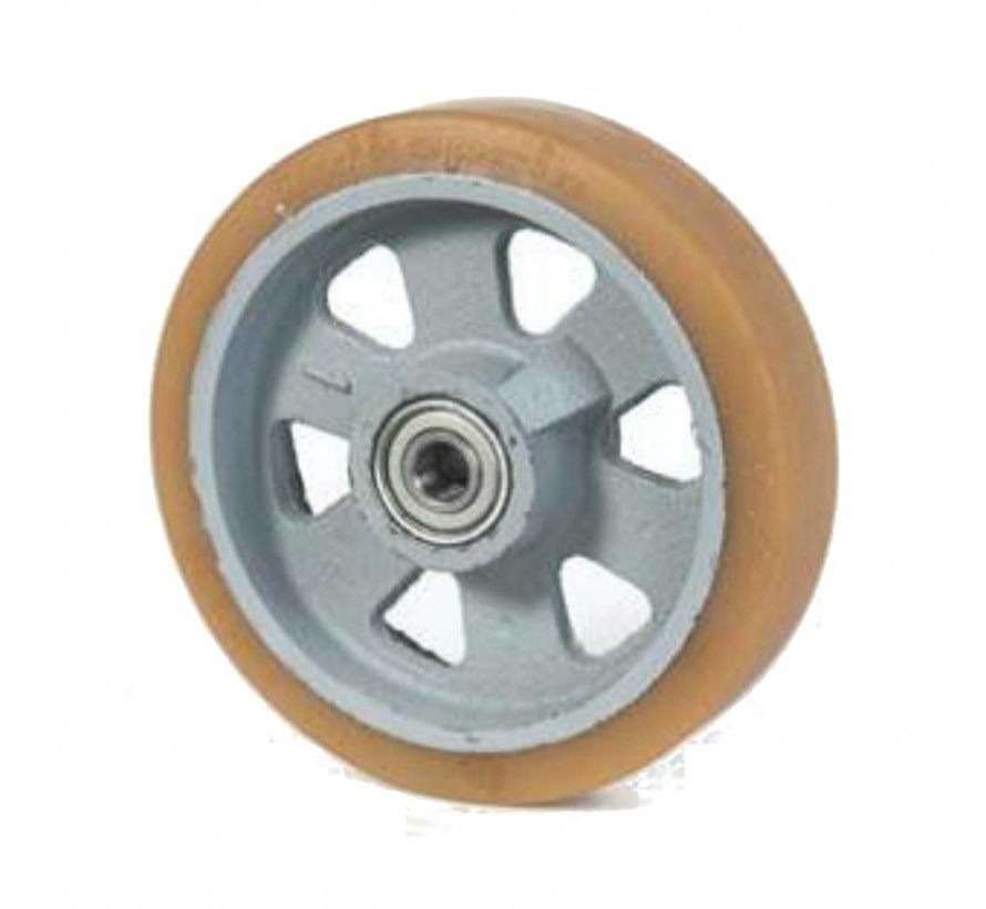 heavy duty Vulkollan® Bayer tread cast iron, precision ball bearing, Wheel-Ø 125mm, KG
