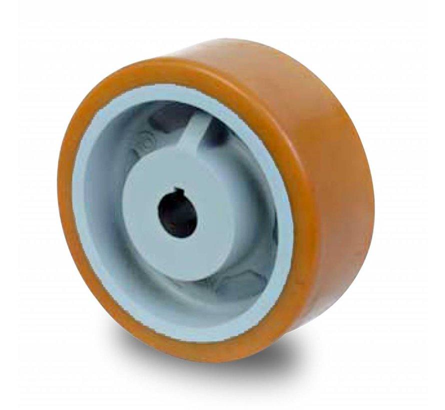 Ruedas de alta capacidad Rueda motriz poliuretano Vulkollan® bandaje núcleo de rueda de hierro fundido, H7-agujero muelle de ajuste DIN 6885 JS9, Rueda-Ø 400mm, 100KG