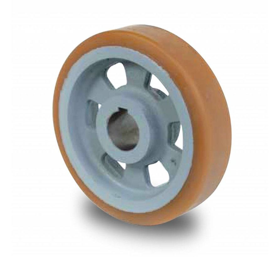 heavy duty drive wheel Vulkollan® Bayer tread cast iron, H7-bore feather keyway DIN 6885 JS9, Wheel-Ø 125mm, 1000KG