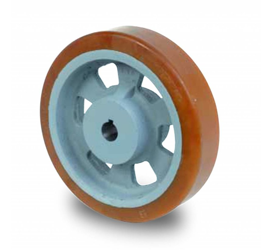 Schwerlast Räder und Rollen Antriebsräder Vulkollan® Bayer  Lauffläche Radkörper aus Gußeisen, H7-Bohrung Bohrung mit Paßfedernut DIN 6885 JS9, Rad-Ø 250mm, 200KG