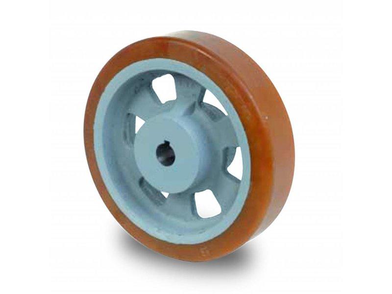 Schwerlast Räder und Rollen Antriebsräder Vulkollan® Bayer  Lauffläche Radkörper aus Gußeisen, H7-Bohrung Bohrung mit Paßfedernut DIN 6885 JS9, Rad-Ø 125mm, 2500KG
