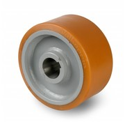 Rueda motriz poliuretano Vulkollan® bandaje núcleo de rueda de acero fundido, Ø 400x125mm, 3850KG