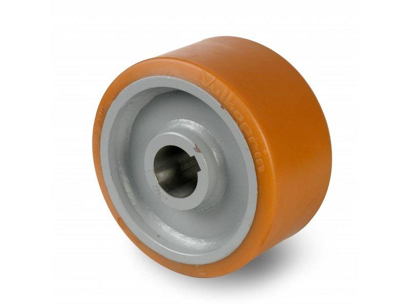 Schwerlast Räder und Rollen Antriebsräder Vulkollan® Bayer  Lauffläche Radkörper aus Stahlschweiß, H7-Bohrung Bohrung mit Paßfedernut DIN 6885 JS9, Rad-Ø 400mm, 4500KG