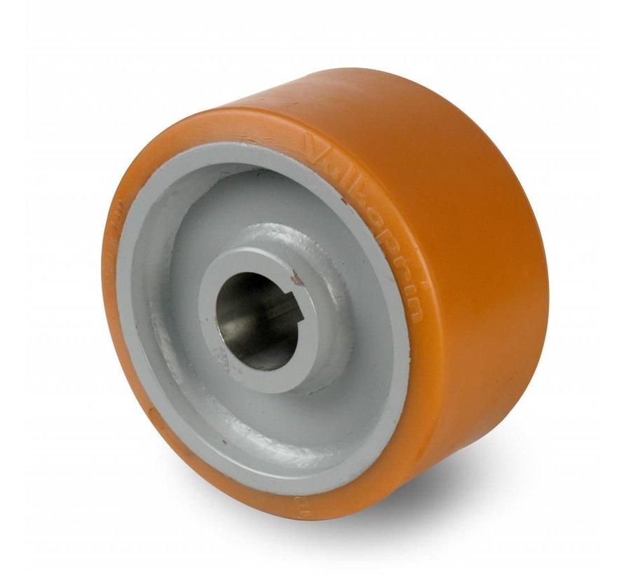 Ruedas de alta capacidad Rueda motriz poliuretano Vulkollan® bandaje núcleo de rueda de acero fundido, H7-agujero muelle de ajuste DIN 6885 JS9, Rueda-Ø 400mm, 1200KG