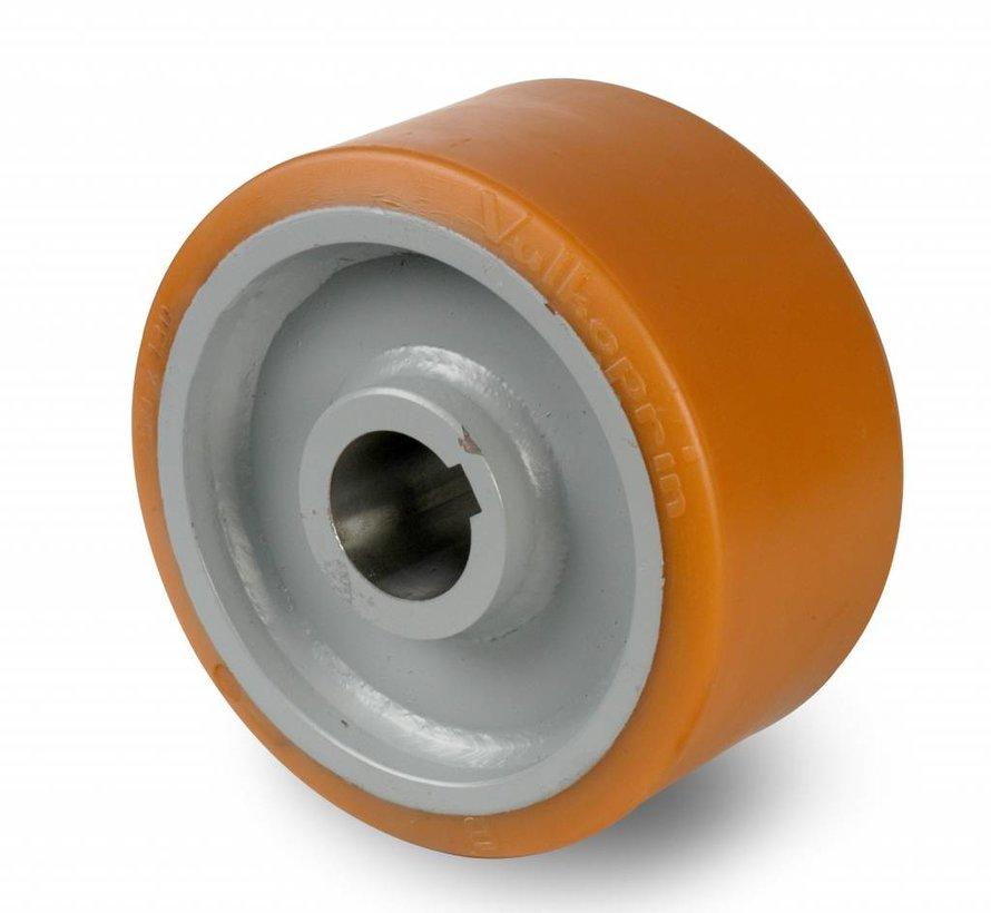 Schwerlast Räder und Rollen Antriebsräder Vulkollan® Bayer  Lauffläche Radkörper aus Stahlschweiß, H7-Bohrung Bohrung mit Paßfedernut DIN 6885 JS9, Rad-Ø 250mm, 950KG