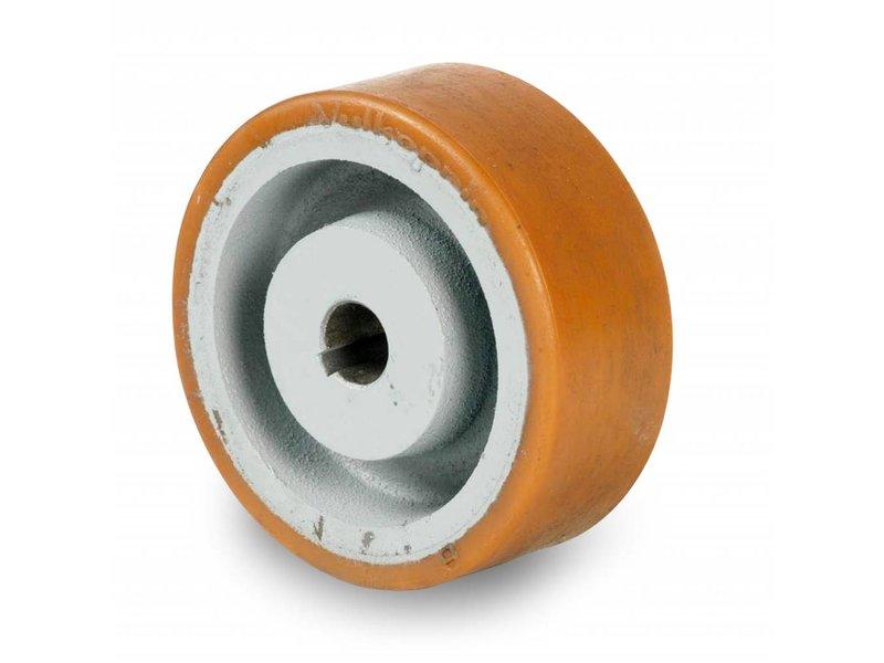 Schwerlast Räder und Rollen Antriebsräder Vulkollan® Bayer  Lauffläche Radkörper aus Gußeisen, H7-Bohrung Bohrung mit Paßfedernut DIN 6885 JS9, Rad-Ø 250mm, 300KG