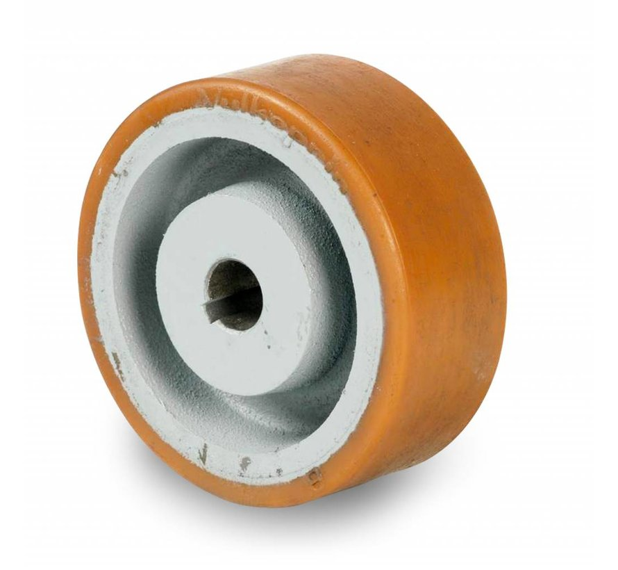 rodas de alta carga roda motriz rodas e rodízios vulkollan® superfície de rodagem  núcleo da roda de aço fundido, H7-buraco muelle de ajuste según DIN 6885 JS9, Roda-Ø 100mm, 150KG