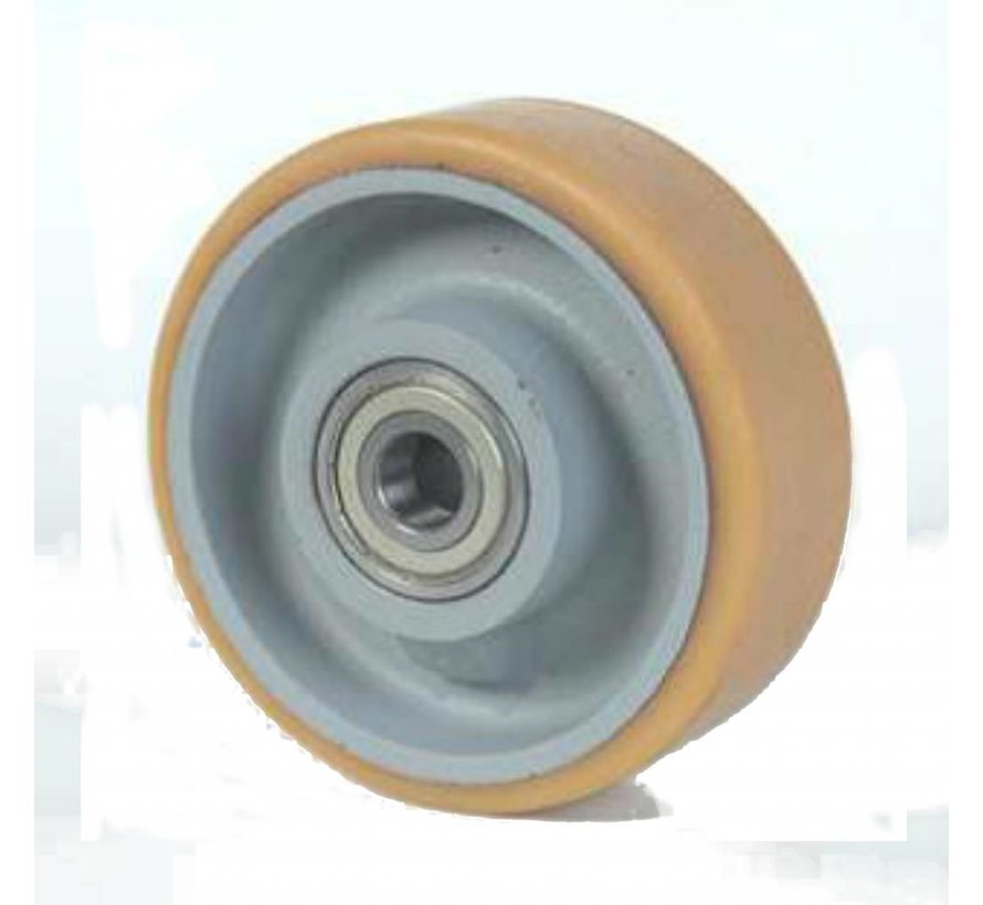 heavy duty Vulkollan® Bayer tread cast iron, precision ball bearing, Wheel-Ø 250mm, 280KG