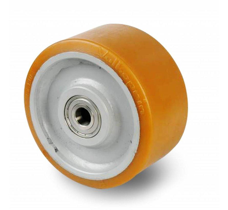 Ruedas de alta capacidad poliuretano Vulkollan® bandaje núcleo de rueda de acero fundido, cojinete de bolas de precisión, Rueda-Ø 400mm, 300KG