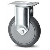 Fast hjul, Ø 125mm, grå termoplastisk gummi afsmitningsfri, 100KG
