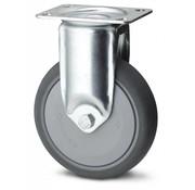 Roulette fixe, Ø 125mm, caoutchouc thermoplastique gris non tachant, 100KG