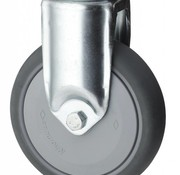 Fixed caster, Ø 100mm, thermoplastic rubber grey non-marking, 100KG