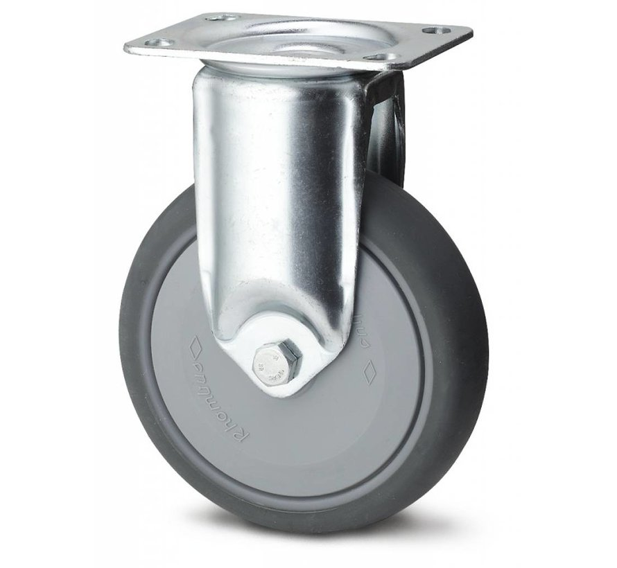 Institutional Fixed caster from pressed steel, plate fitting, thermoplastic rubber grey non-marking, precision ball bearing, Wheel-Ø 100mm, 100KG
