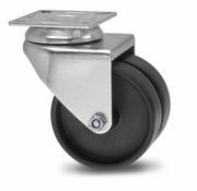 Drejeligt hjul, Ø 50mm, Polypropylen Hjul, 80KG