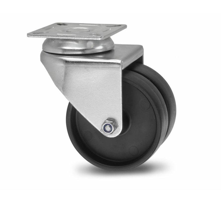 Institutional Swivel caster from pressed steel, plate fitting, Polypropylene Wheel, plain bearing, Wheel-Ø 50mm, 80KG