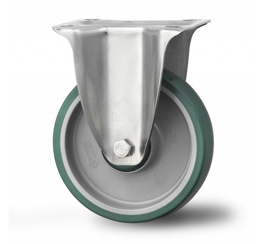 Inox / stal nierdzewna AISI 304 kółka w obudowach stałych z stali kwasoodpornej Presset, płytka mocująca, wtryskiwanego poliuretanu, łożysko ślizgowe, koła / rolki-Ø160mm, 300KG