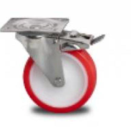 Zestaw kołowy ze stali nierdzewnej - wtryskiwany poliuretanowy bieżnik i łożysko wałeczkowe