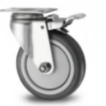 Stainless Steel Swivel Castor With Polypropylene Wheel & Rubber Tread