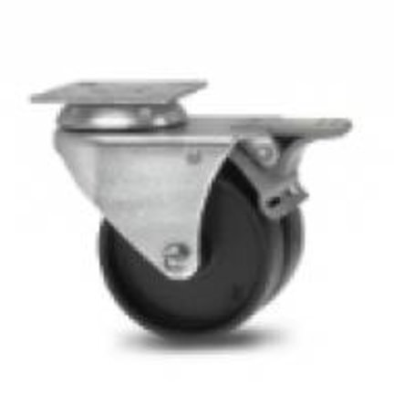 double (twin wheel) furniture castors with polypropylene or rubber tread. For extra load capacity