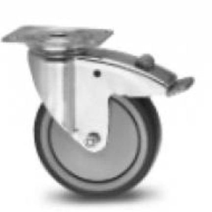 Apparater faste og drejelige hjul hjul, termo gummi slidbane, non mærkning, kugleleje