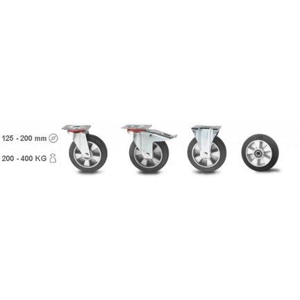 Goma elástica, centro de rueda de aluminio, cojinete de bolas, hasta 400 KG