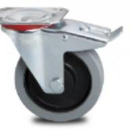 Medium Heavy Fixed or Swivel Castor With Rubber Tread