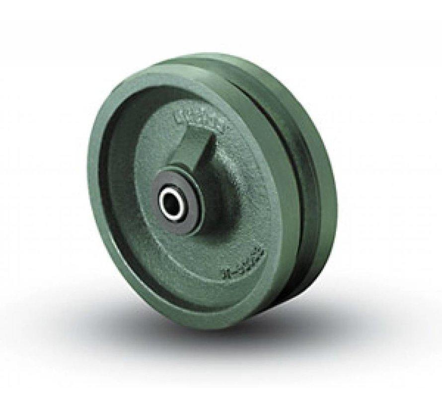 """Ruedas con pestaña Ruedas sólido con pestaña doble, superficie de desplazamiento en forma """"V""""  acero sólido, cojinete de bolas de precisión, Rueda-Ø 150mm, 1000KG"""