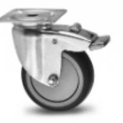Vollgummi-Möbelrolle - Plattenbefestigung oder Schlupfloch - schlicht und Kugellager