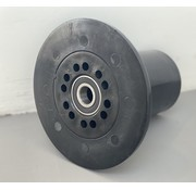 Rouleau à bride POM 163 mm de diamètre pour axe 20 mm pour wagons de récolte sur système tube-rail