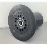 Rullo flangiato in POM diametro 163mm per asse 20mm per carri raccolta su sistema a rotaie
