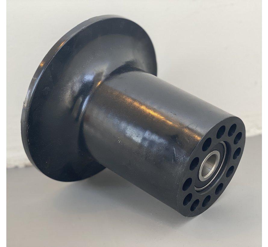 """Flanschrollen POM 163 mm Durchmesser für Achse 20 mm für Erntewagen auf Rohr-Schiene-System, auch """"Konijnenburg Trompetenrolle"""" genannt"""