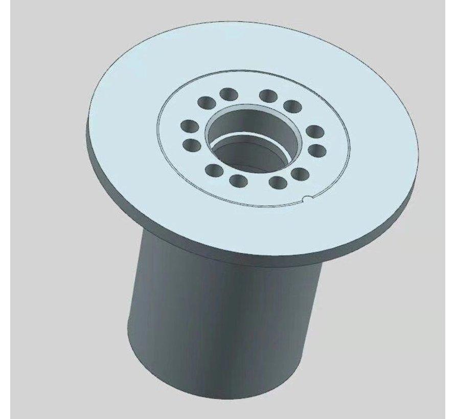 """Rullo flangiato in POM diametro 163 mm per asse 20 mm per carri raccolta su sistema a rotaie chiamato anche """"rullo a tromba di Konijnenburg"""""""