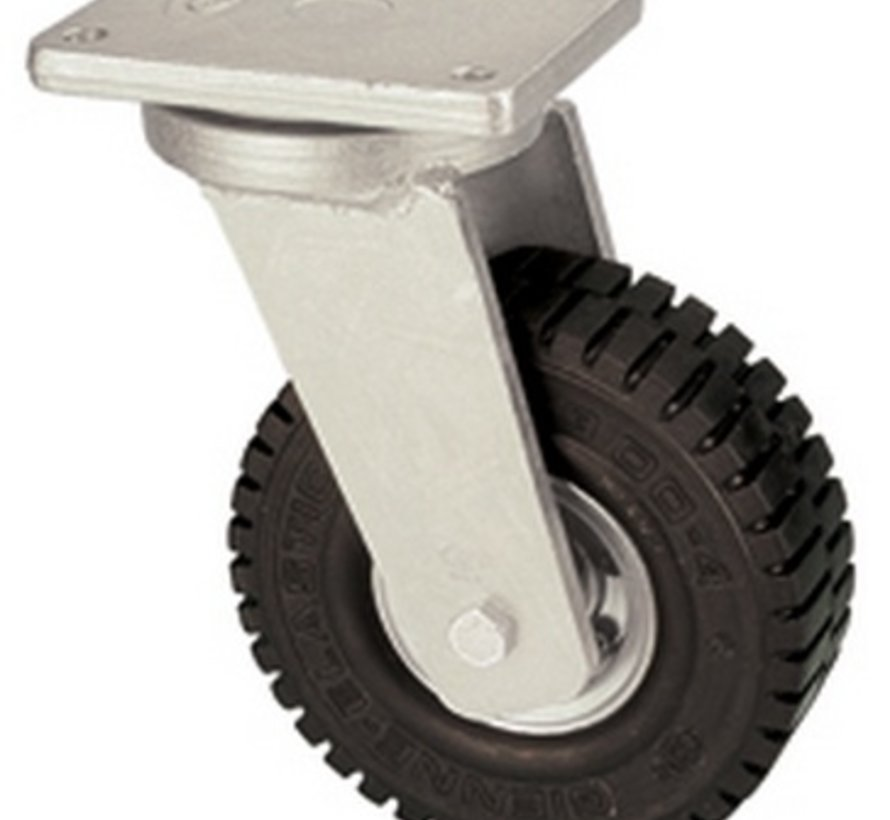 Swivel castor with super elastic rubber wheel 406 mm, load capacity: 945 KG at 6 km/h