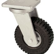 Swivel castor with super elastic rubber wheel 305 mm, load capacity: 535 KG at 6 km/h