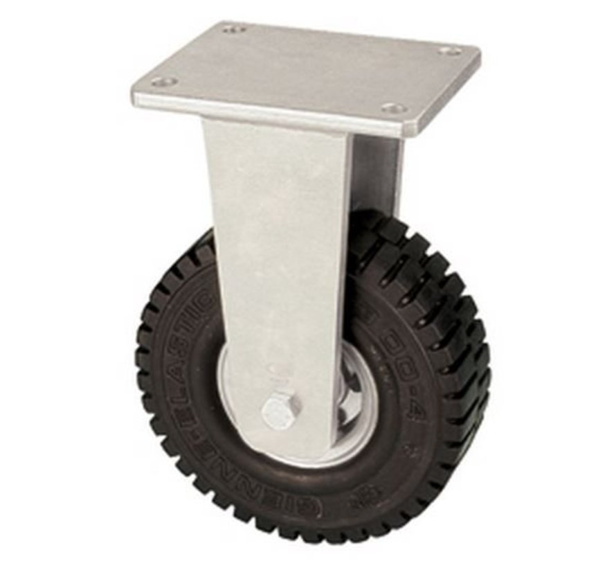 Fixed castor with super elastic rubber wheel 376 mm, load capacity: 1040 KG at 6 km/h