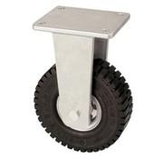VLUKON Ricino fijo con super rueda de goma elástica 305 mm, capacidad de carga: 535 KG en 6 kmh