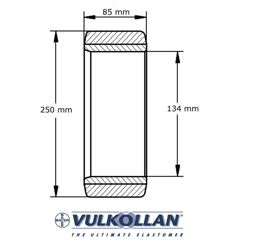 Forklift wheels Vulkollan® cylindrical press-on tyres with Vulkollan® cylindrical press-on tyres, , Wheel-Ø 250mm, 200KG