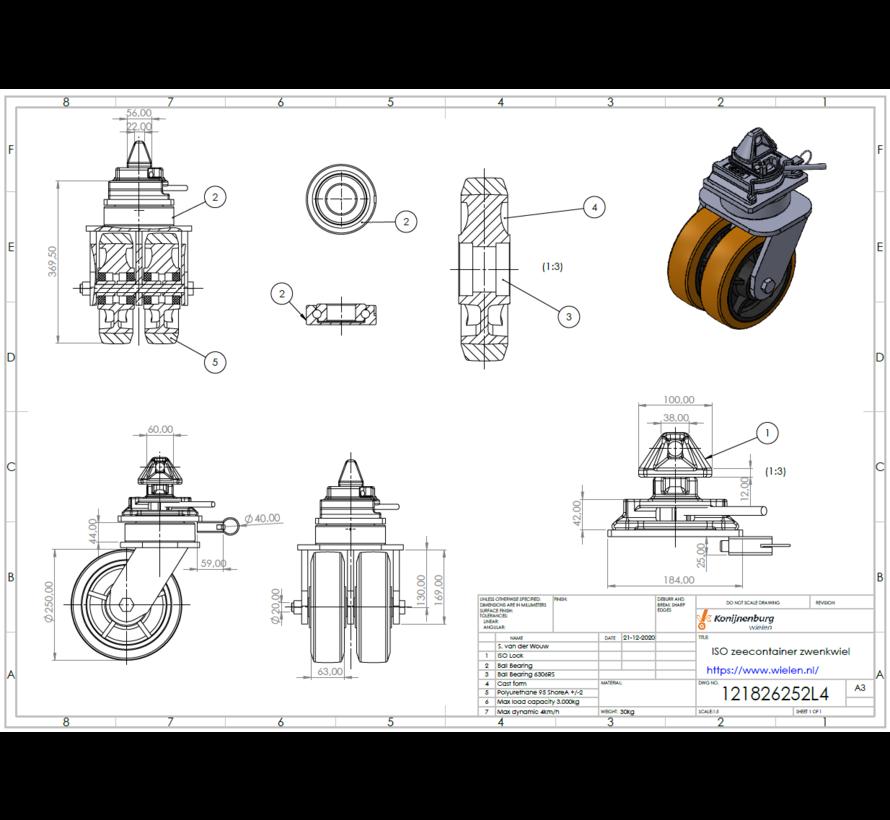 Rodízio de canto ISO para contêineres   Cada roda tem uma capacidade de carga de 3.000 KG