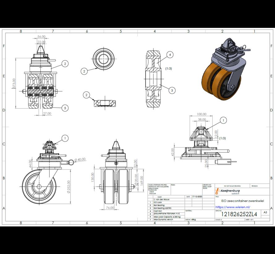 Sistema móvil de ruedas giratorias para contenedores marítimos con ajuste de giro para una esquina de contenedor ISO