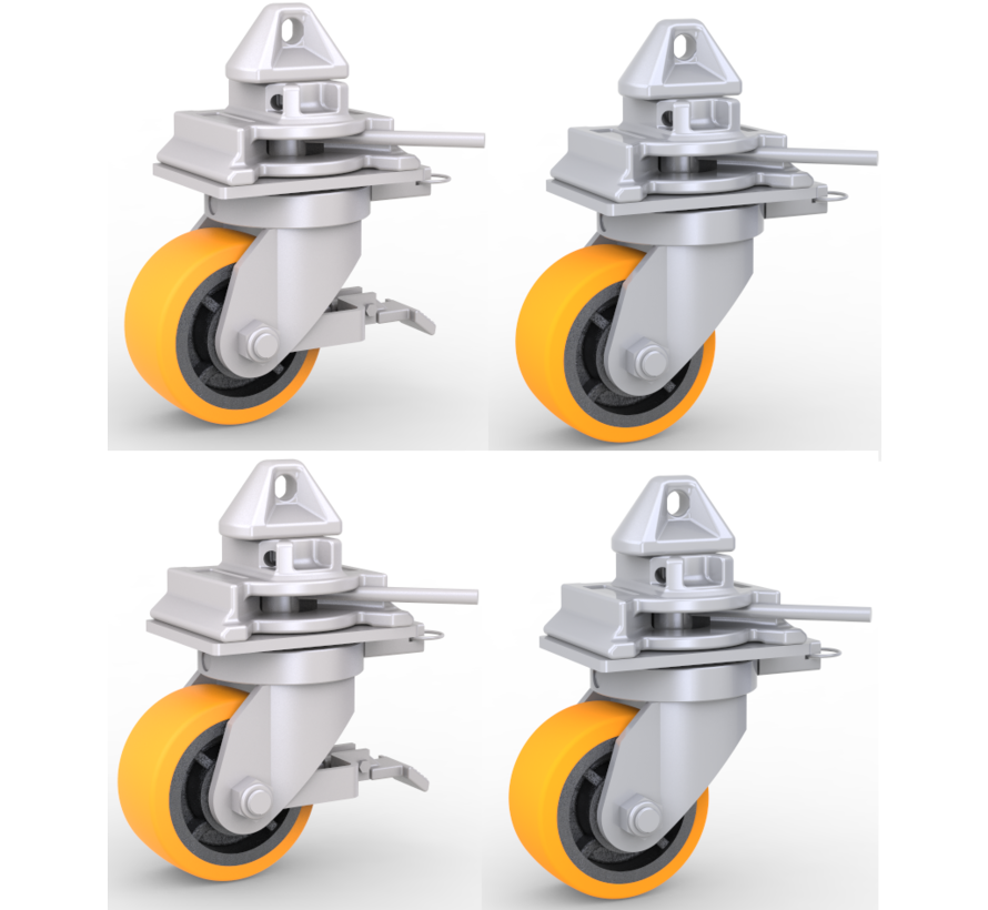 4 x castor wheels with twist-lock mechanisms which are easy to fit onto the corner castings of standard intermodal shipping containers