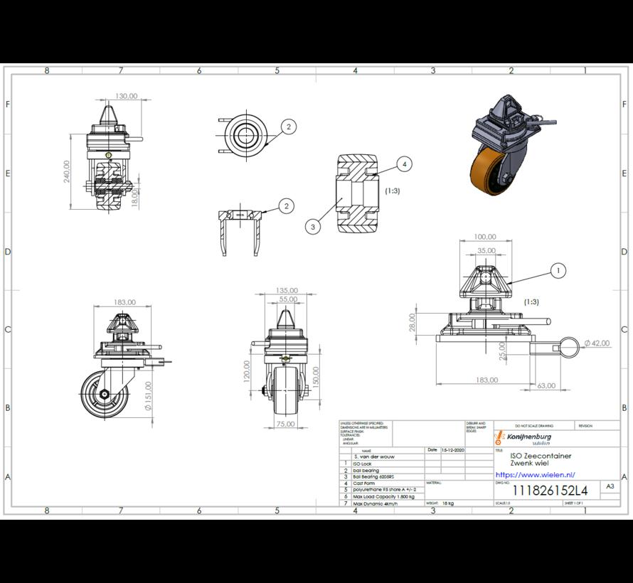 4 x rodas giratórias com mecanismos de bloqueio de torção que são fáceis de encaixar nas peças de canto dos contentores de transporte intermodal padrão
