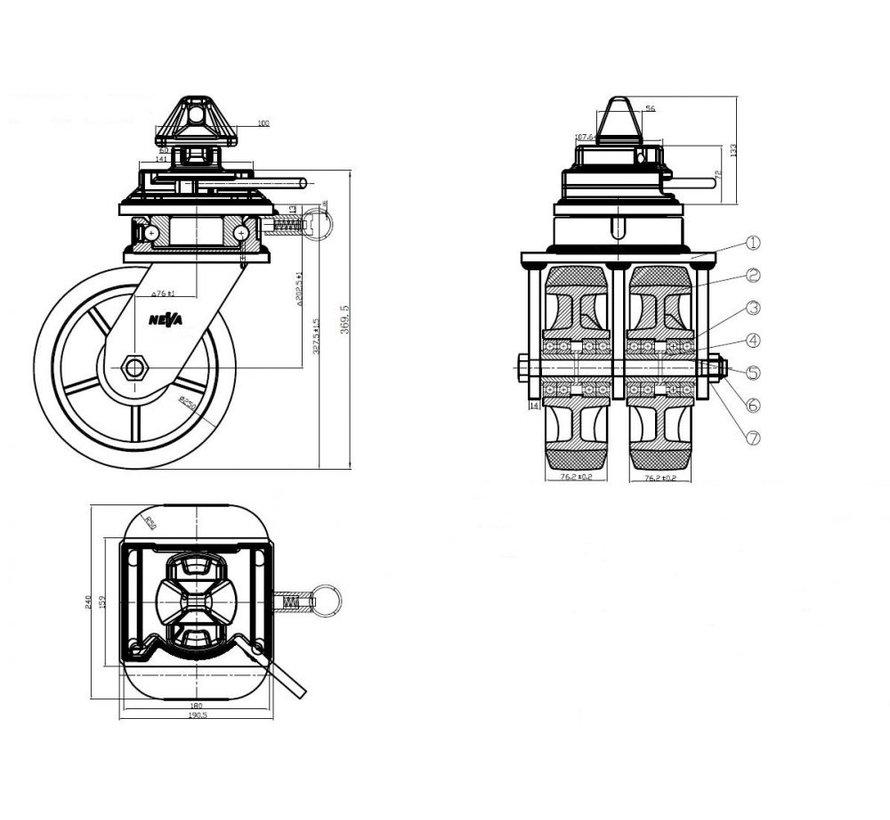 Mobiles Rollensystem für Seeverkehrscontainer mit Drehverschluss für eine ISO-Containerecke