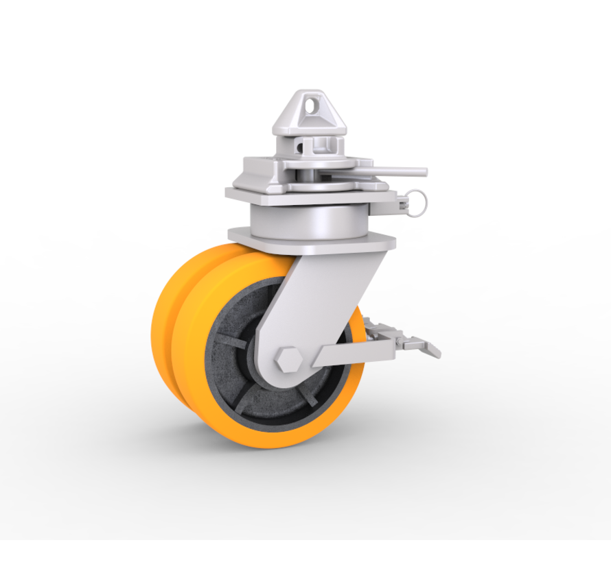 4 x castor wheels with twistlock fitting, BRAKES and Directional-lock for mobile shipping container to fit on corner castings