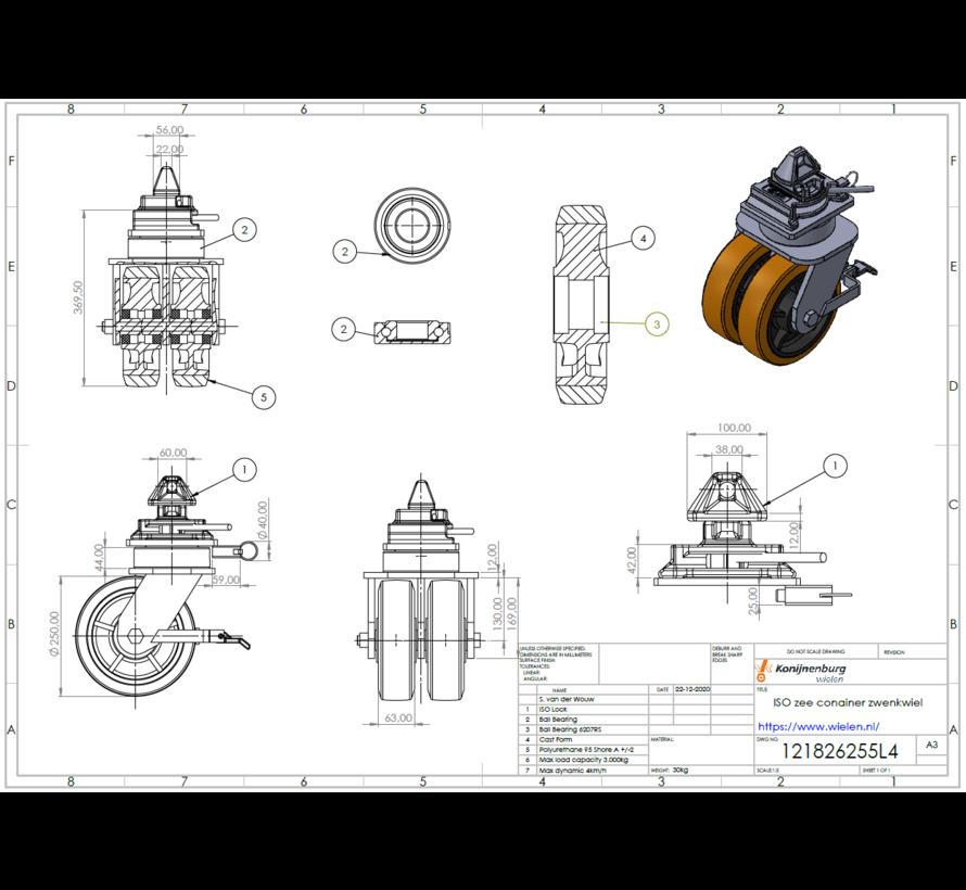 ISO Containereckrolle | Jedes einzelne Rad hat eine Tragfähigkeit von 3.000 KG