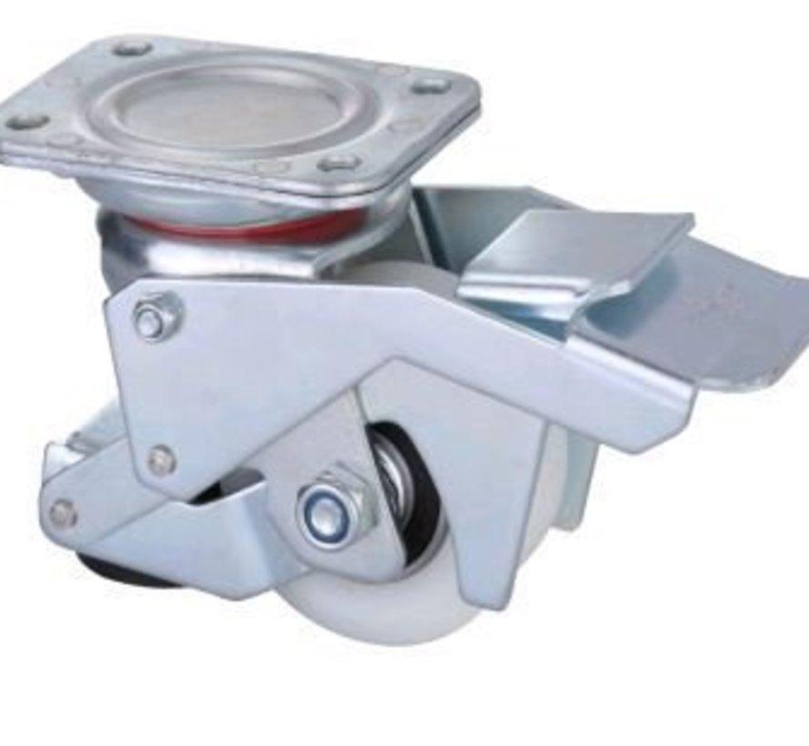 Roda de nivelamento acionada por pés com roda de nylon de 80x40mm, capacidade de carga 350KG - Manuseio fácil com pedal