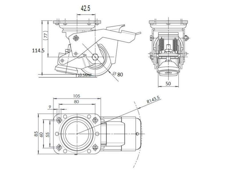 Fodbetjent Nivellering fast hjul med 80x40mm nylon hjul, belastning 350 kg - Nem håndtering med Pedal