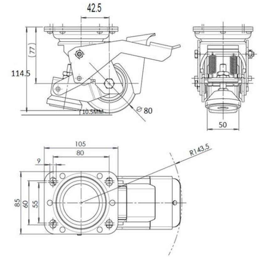 Pied actionné Nivellement lanceur fixe avec roue en nylon 80x40mm, capacité de charge 350kg - Manipulation facile avec pédale